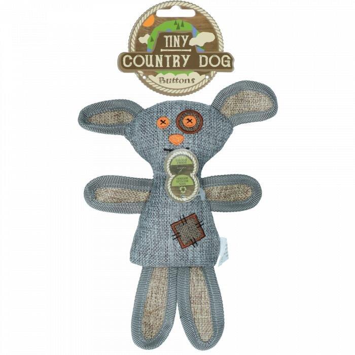 Country Dog Tiny Buttons Hundelegetøjs Bamse - Genbrugsplast - 21cm